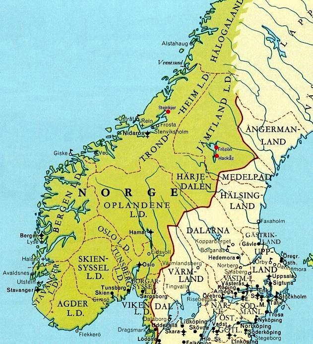 Karta Fran Medeltiden Over Jamtland Norge Och Sverige Espell